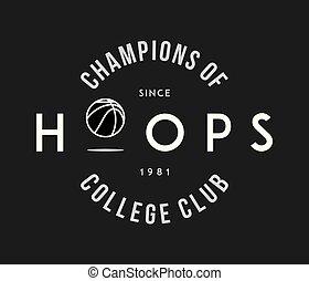 Basketball Hoops white on black