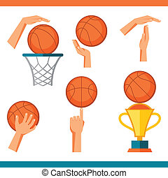 Basketball icon set of gestures and symbols in game.