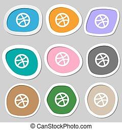 Basketball icon symbols. Multicolored paper stickers. Vector