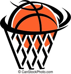 basketball icon team design with ball and net for school, college or league