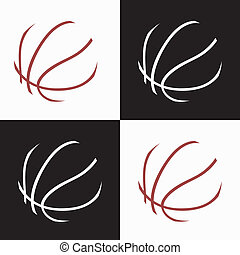 basketball icons - basketball ball abstract icons on white...