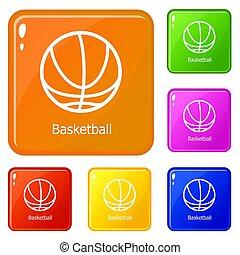 Basketball icons set color