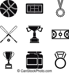 Basketball icons set, simple style