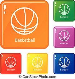 Basketball icons set vector color