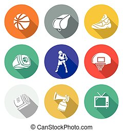 Basketball Icons Set. Vector Illustration. - Isolated Flat...