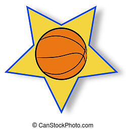 basketball illustration with yellow star background - sports concept