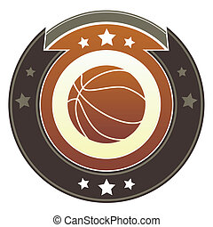 Basketball imperial crest - Basketball icon on round red and...