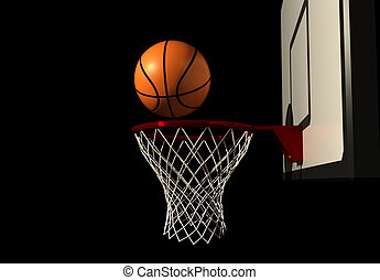 Basketball in air over hoop - rendered in 3d