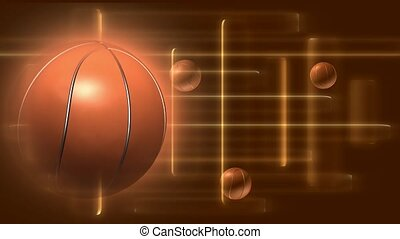 Basketball in foreground with small balls in background