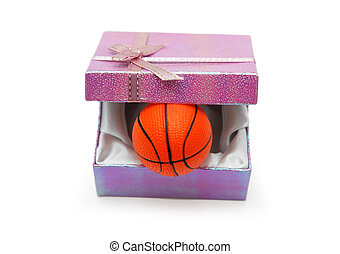Basketball in gift box isolated on white