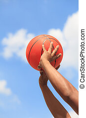 Basketball in hands