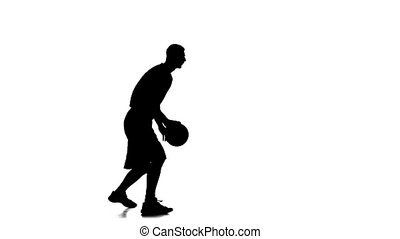 Basketball is a ball and stuffing his hands. Side view. White background
