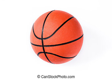 Basketball isolated on white background. Top view.
