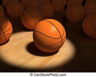 basketball items - basketball ball over the hardwood floor...