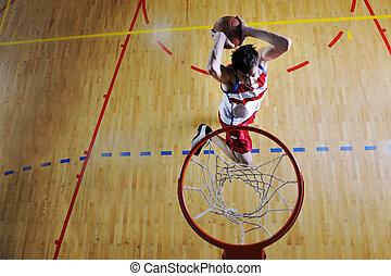 basketball jump - young healthy man play basketball game...