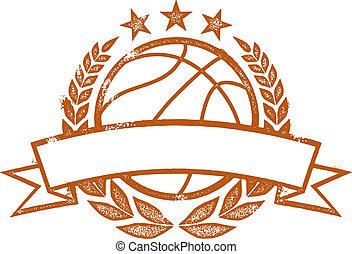 basketball, laurbær krans, banner