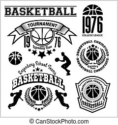 Basketball logo, emblem set collections, designs templates on a light background