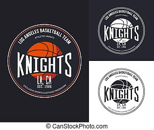 Basketball logo for t-shirt design. Streetball sportswear...