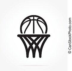 basketball logo simple line drawing abstract hoop net ring basket ball vector illustration