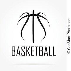 basketball logo simple line drawing vector illustration