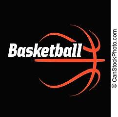 basketball logo simple line drawing vector