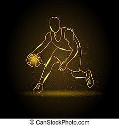 Basketball man silhouette - Outline basketball player...