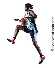 basketball, mann, silhouette, schatten, freigestellt, spieler