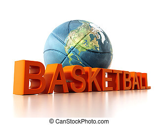 Basketball mapped with Earth texture. 3D illustration