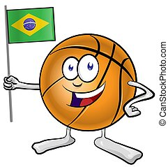 basketball mascot cartoon with brazilian flag