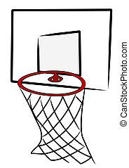 basketball net and back board - illustration
