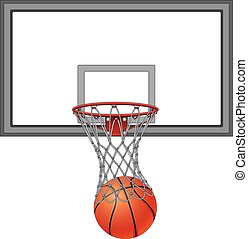 Basketball Net and Backboard - Basketball Through Net With...