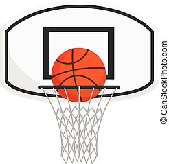 Basketball net with a ball isolated on white background.