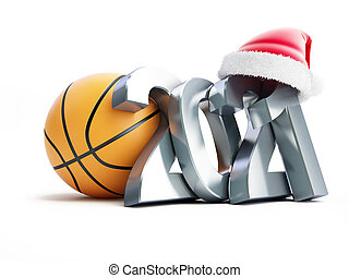 Basketball new year 2021 santa hat on a white background 3D illustration, 3D rendering