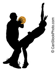 Basketball offense - Illustration of a basketball offense on...