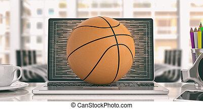 Basketball on a laptop - office background. 3d illustration