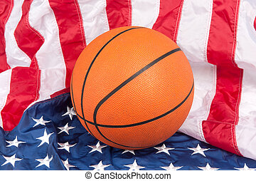 Basketball on American Flag