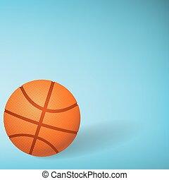 Basketball on blue background.