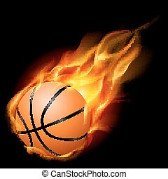 Basketball on fire - Flying basketball on fire. Illustration...