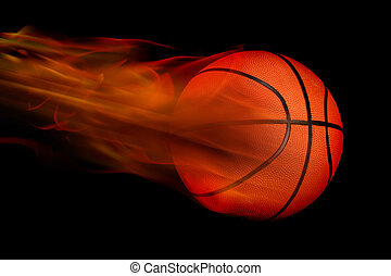 Basketball on Fire - Glowing orange basketball on fire.