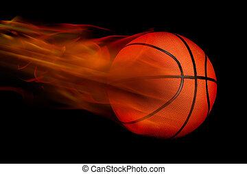 Basketball on Fire - Glowing orange basketball on fire.