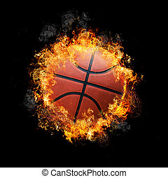 Basketball on fire with black background