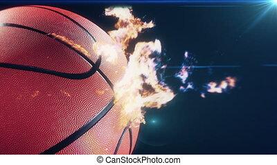 basketball on flames
