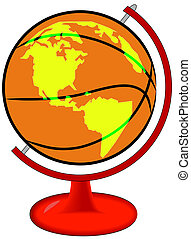 basketball on globe stand