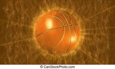 Basketball on gold background