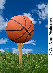 Basketball on golf tee