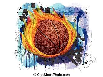 basketball on grunge background