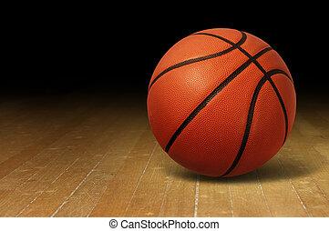 Basketball On Wood Court - Basketball on a hardwood court...