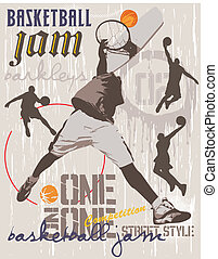 basketball one on one - illustration for shirt printed and...