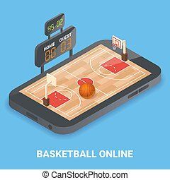 Basketball online concept vector flat isometric illustration