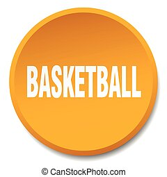 basketball orange round flat isolated push button